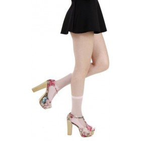 Sheer Panel Ankle Sock (Pink)
