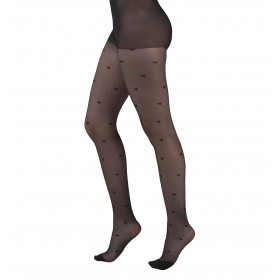 All Over Hearts Sheer Tights (Black)