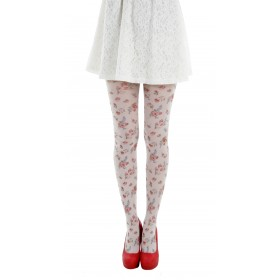 Autumn Flower Printed Tights (White)