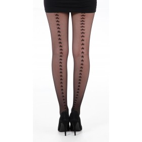 Star Back Seam Tights (Black)