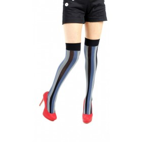 Vertical Stripe Overknee Socks (Blue)