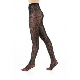 All Over Cobweb Lace Tights (Black)