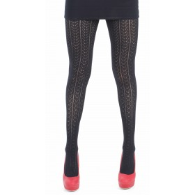 Cotton Lacey Chevron Tights (Black)