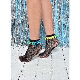 Pom Pom Fishnet Ankle Socks