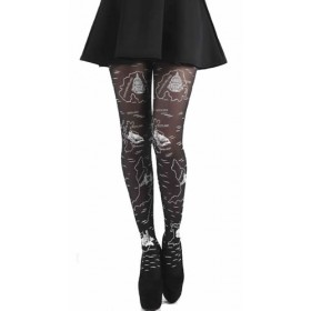 Flocked Tights Map of UK (Black)