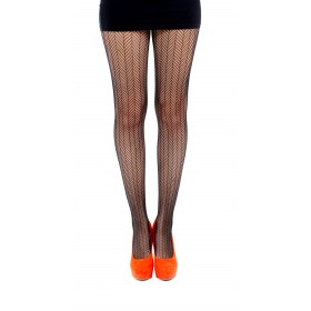 Herringbone Net Tights (Black)