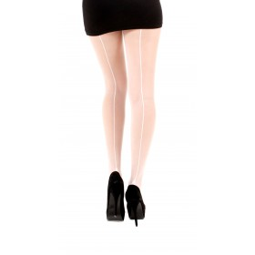 Jive Seamed Tights (White/White)