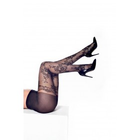 Mock Lace Top Hold Up Tights (Black)