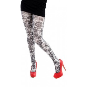 Monochrome Rose Printed Tights (White/Black)- CLEARANCE