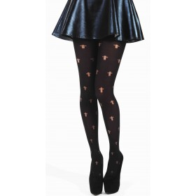 Opaque Gothic Cross Tights (Black)