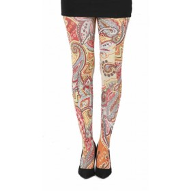 Paisley Riot Printed Tights (Yellow)