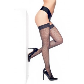Fishnet Lace Top Hold Ups (Black)