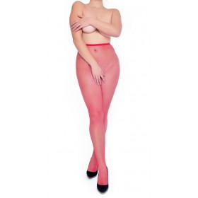 Fishnet Crotchless Tights (Flo Red)