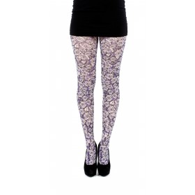 Purple Rose Printed Tights (Purple)