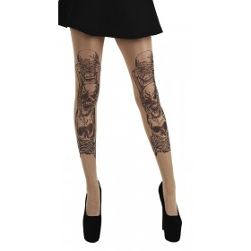 See, Hear, Speak No Evil Gothic Tattoo Tights (Nude)