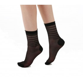 Sheer / Stripe Ankle Socks (Black)