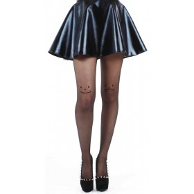 Sheer Face Tights (Black)