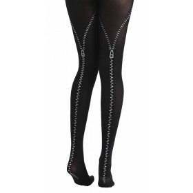 Flocked Tights Zips (Black/Silver)