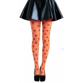 Skulls A Printed Tights (Flo Orange)
