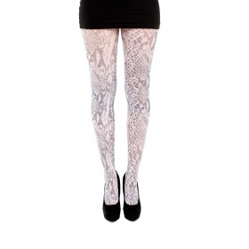 White Snakeskin Print Tights