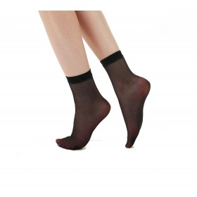 Sparkly Trim Sheer Ankle Socks (Black/Silver)