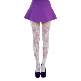 Spring Flower Printed Tights (Purple)- CLEARANCE