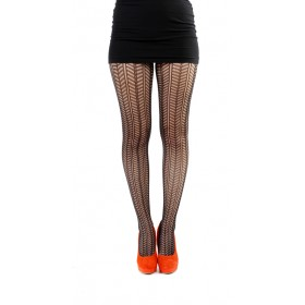 Chevron Knit Tights (Black)