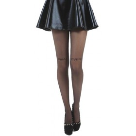 What Ever Small Text Sheer Tights (Black)