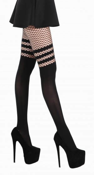 Fishnet Over The Knee Tights (Black)