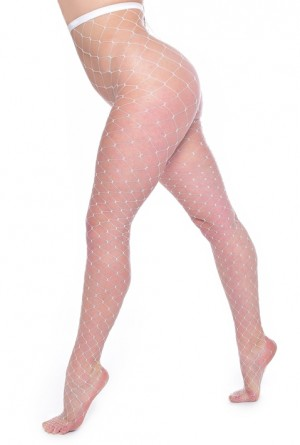 Plus Size Extra Large Net Tights (White)
